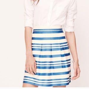 LOFT blue & white striped skirt
